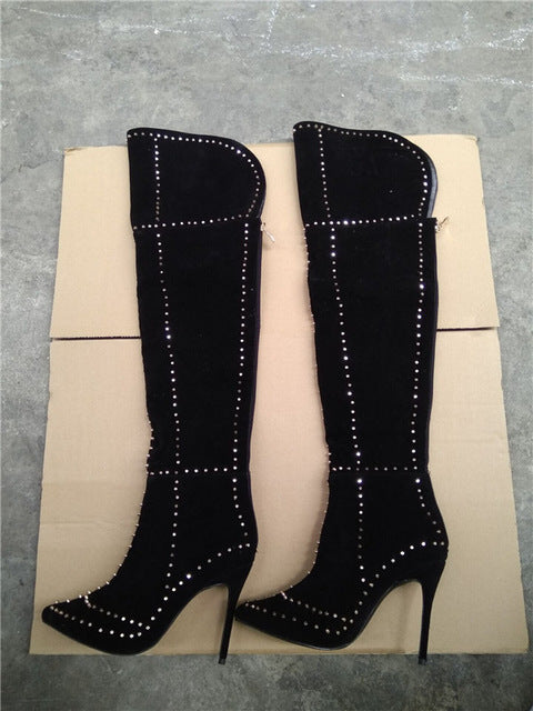 ... LTTL Sexy Women Gold Rivets Motorcycle Boots Thigh High Boots Woman  High Heel Black Deep Blue ...