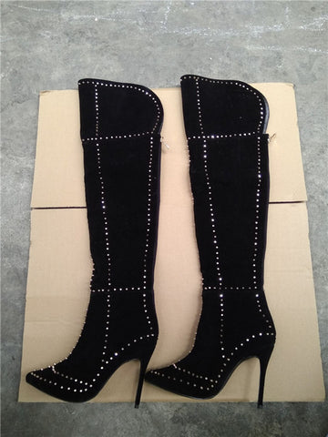 LTTL Sexy Women Gold Rivets Motorcycle Boots Thigh High Boots Woman High Heel Black Deep Blue Wine Red Over The Knee Boots - Bad Ass Shoes