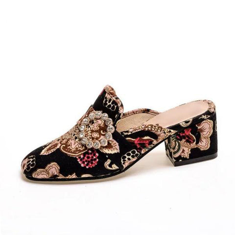 Gorgeous Crystal, Embroidered,  Vintage Inspired Square Toe, Low Heel Mules For Women