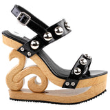 Sexy Metal Ball Strappy Slingback Wooden Look Wedges Platform Clogs - Bad Ass Shoes