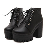 Steampunk Designer Black Thick High Heel Lace Up Ankle Boots