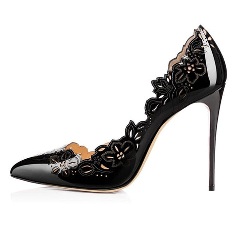 Stiletto Women Pumps Sexy Pointed Toe High Heels Shoes Woman Hollow Out Flower Office Lady Party Shoes Footwear Size 35-46 B258 - Bad Ass Shoes