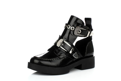 Genuine Full Grain Leather Buckle Cut Out Women Punk Ankle Sale Motorcycle Boots Gladiator Shoes Woman Martin Boots - Bad Ass Shoes