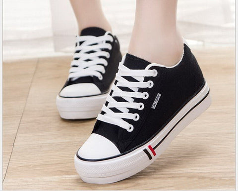 Top quality fashion Womens Low Top Canvas Shoes lace up Height Increasing women Casual shoes size 35-40 - Bad Ass Shoes