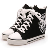 Thick Soled High Top Ladies Casual Sneakers Women Canvas Shoes Hidden Wedge Heel Boots - Bad Ass Shoes