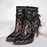 Retro Ethnic Embroidery Winter Shoes Women HighSuper Cute Womens Embroidered Ankle Boots Buckles Winter Boots