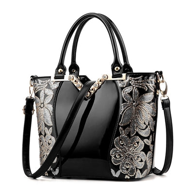 New 2017 Europe fashion women bag sequin embroidery Luxury patent leather famous brands designer handbag women messenger bags - Bad Ass Shoes