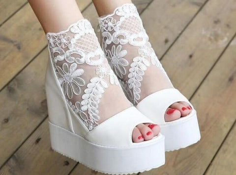 Fashion Sweet Lace Roman Shoes Women Wedge Heels White Platform Pumps High Heels Sandals Zapatos Plataforma Mujer Free Shipping - Bad Ass Shoes