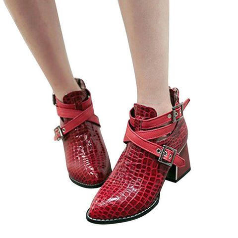 Womens Crocodile Ankle Boot, Casual Pointed Toe  Size 35-39 XWX4274 - Bad Ass Shoes