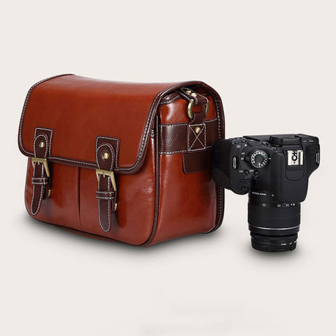 PU Leather SLR DSLR Waterproof Camera Bag Case Handbag Shoulder Messenger Bag Cameras For Canon For Nikon - Bad Ass Shoes