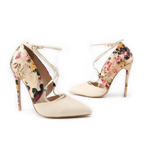 Womens High Heel Pointed Closed Toe Floral and Solid Print Cross Strap Stilettos - Bad Ass Shoes