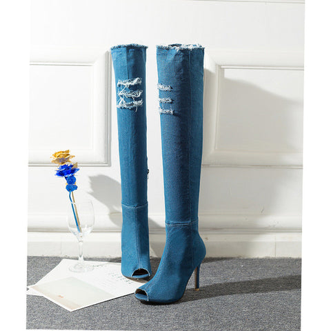 Denim Over Knee High Ripped Boots Peep Toe Super High Thin Heel Women Shoes Size 36-40 - Bad Ass Shoes