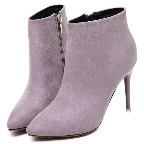 Womens Ankle Boots - Women  Suede Leather  Pointed Toe High Heel Ankle Booties-8 Colors To Choose From! - Bad Ass Shoes