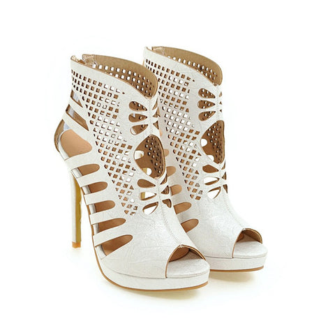 Women Shoes Gladiator Pumps Ankle Wrap High Heels Cut Out Stiletto Heels Platform Pumps White Zapatos - Bad Ass Shoes