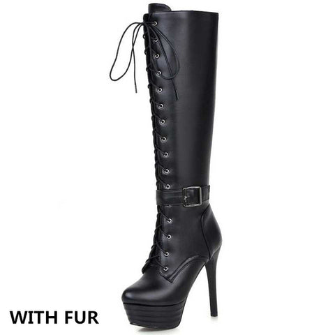 Knee High Women Boots Motorcycle Boots Super High Heels Buckle Cross Tie Platform Shoes Winter Boots Big Size 34-45 - Bad Ass Shoes