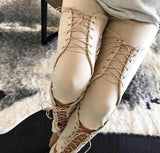 Hottest Women's Streampunk Stretch Bandage Lace Up Faux Suede Pencil Pant Leggings