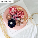 Handmade Floral Evening Clutch Bags, Mini Round Clutch Wallets Wedding Dinner Bags with Chain - Bad Ass Shoes