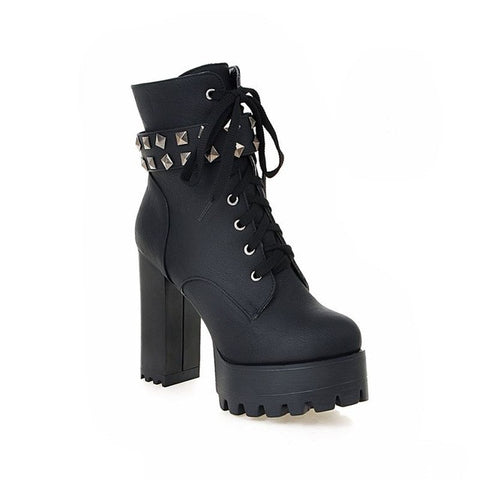 Classic Thick Heel Round Toe Ankle Boots Sexy Platform High Heels Solid Lace Up Women Boots - Bad Ass Shoes