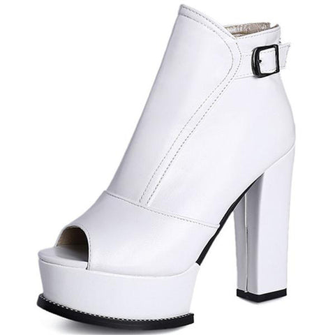 Ankle Zipper Platform Boots for Women