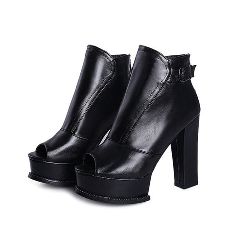 MORAZORA Spuer heels shoes woman summer ankle boots for women after the zipper platform shoes fashion boots PU - Bad Ass Shoes