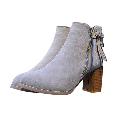 Women tassel Thick with England BOOTS round head Nubuck leather Martin boots - Bad Ass Shoes