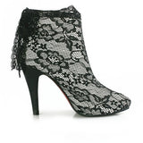 Womens Ankle Booties, Lace Covered High Heel Boots - Bad Ass Shoes