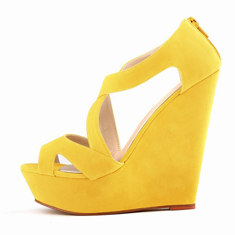 women ladies high heels platform women court casual pumps wedding ankle boots shoes Yellow - Bad Ass Shoes