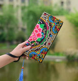 New National Ethnic Women Embroidery Wallet Double Side Embroidered Flower Coins Purse Bags Women's  Small Handbag Clutch Bag - Bad Ass Shoes