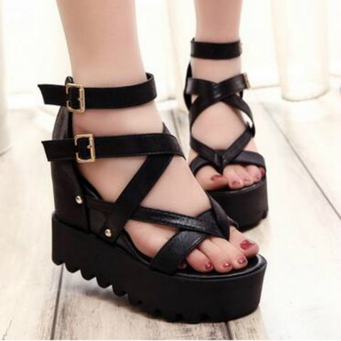 Fashion Sandals Summer Wedges Women's Sandals Platform Lace Belt Bow Flip Flops open toe high-heeled Women shoes Female 9909W - Bad Ass Shoes