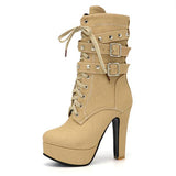 Mid-Calf  Plush Beige Suede Boot With Rivets and Wrap Around Buckles Lace Up High Heel Boots