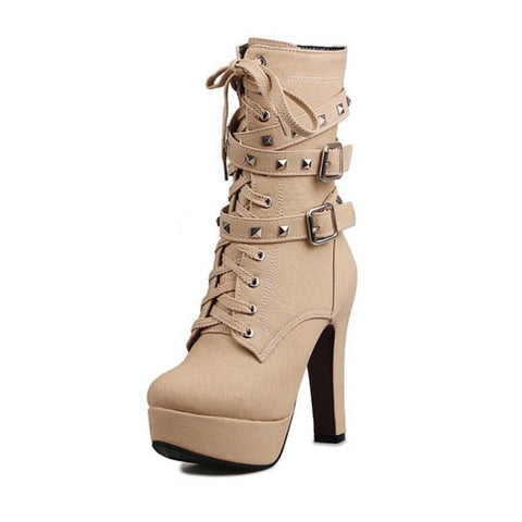 Mid-Calf  Plush Beige Suede Boot With Rivets and Wrap Around Buckles Lace Up High Heel Boots - Bad Ass Shoes