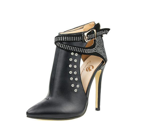 Black Leather Studded Ankle Boots with Pointed Toe and Ankle Wrap Strap with Buckle