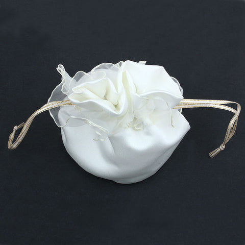 New Ivory White Satin Wedding Bride Bridesmaid Dolly Bag High Quality Handbag Wholesale - Bad Ass Shoes