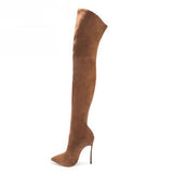 Thigh High Suede High Heel Boots