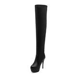 Women's Sexy High Heel Round Toe Platform Over The Knee Thigh High Boots