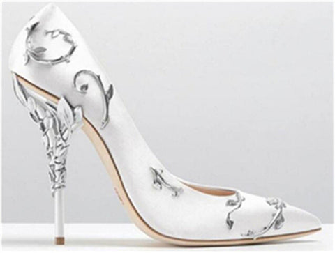 New Wedding Shoes Woman Pointed Toe High Heel Pumps Sexy Satin Witn Hollow Metal Collocation Stiletto Heel Party Shoes - Bad Ass Shoes
