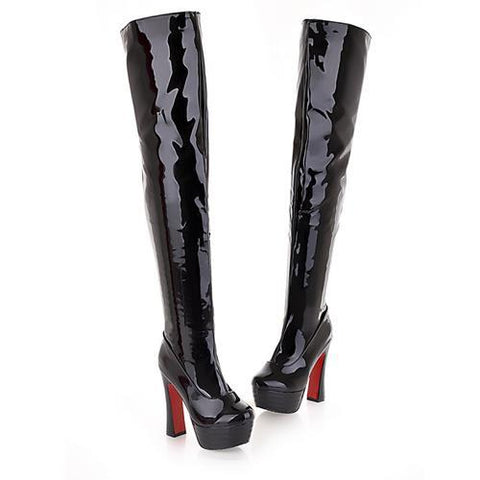 MORAZORA 2017 New fashion lady high heels boots autumn over the knee high boots  platform women motorcycle boots - Bad Ass Shoes