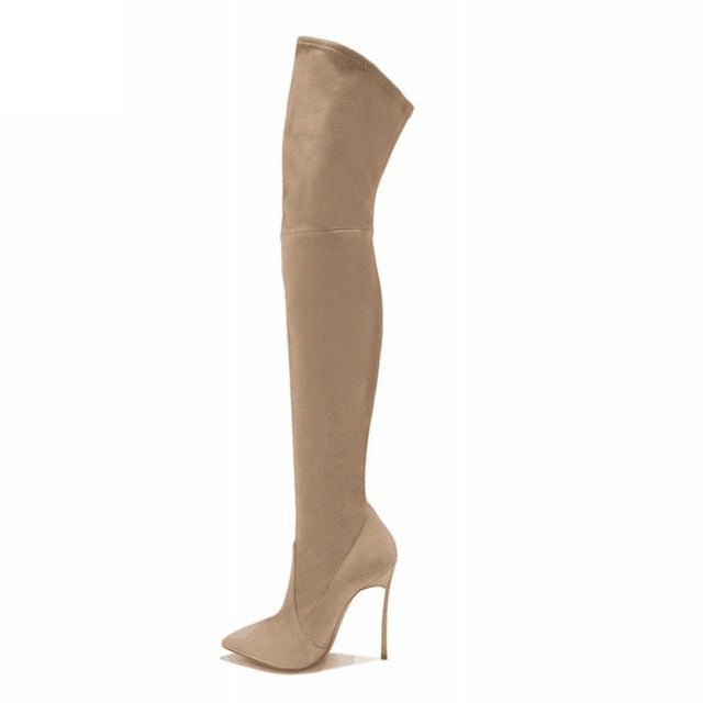 ac6783a74e1 Women Boots Stretch Slim Thigh High Boots Sexy Over the Knee High Heels Shoes  Woman Metal ...