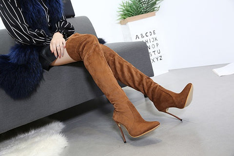 HAIYUELI women high heels boots shoes woman over the knee autumn winter long boots thin heels plus size 35-42 black brown beige - Bad Ass Shoes