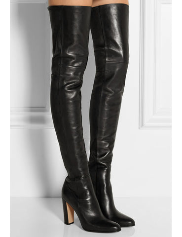 Plain Leather Black Thigh High Boots Square Heel Round Toe Zip Over Knee High Boots Autumn Shoe Fashion Motorcycle Booties Women - Bad Ass Shoes