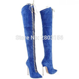Women Over The Knee Boots Metal Heel Women's Suede Leather Long Boots Women High Heels Fashion Boots - Bad Ass Shoes