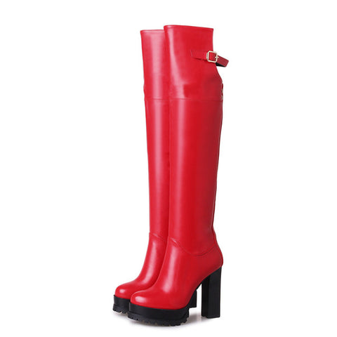 MORAZORA 2018 Over the knee boots fashion shoes PU soft leather womens boots in autumn winter platform boots big size 34-43 - Bad Ass Shoes