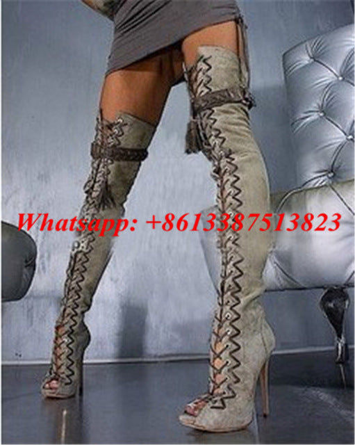 9a8ad08da82b ... Suede Frige Belt Buckle Lace Up Thigh High Boots Peep Toe Cutouts High  Heels Sexy Over ...
