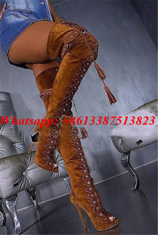 Suede Frige Belt Buckle Lace Up Thigh High Boots Peep Toe Cutouts High Heels Sexy Over The Knee Boots Gladiator Sandals Boots - Bad Ass Shoes