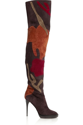 Newest fashion design mixed colors suede over the knee boots patchwork pointed toe sexy thin high heels thigh high boots women - Bad Ass Shoes
