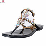 Original Intention Super Stylish Women Sandals Concise Open Toe Elegant Flat With Heels Sexy Black Shoes Woman Plus US Size 4-15 - Bad Ass Shoes