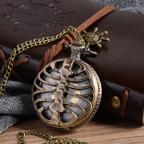 Cindiry Retro Steampunk Bronze Spine Ribs Hollow Quartz Pocket Watch with Necklace Pendant sweater chain Women Gift P20 - Bad Ass Shoes