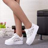 New Lace Canvas Shoes Woman Casual Shoes Hollow Floral Print Breathable Platform Women Shoes - Bad Ass Shoes