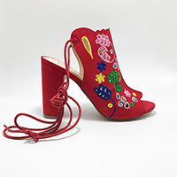 Floral Embroidered  Lace up Sexy Women's High Heel Sandals Ankle Boots Peep ToeThick High Heel in a Variety of Colors - Bad Ass Shoes