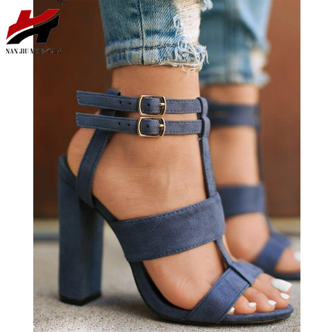 Hot sale Parkside Wind Summer Women's sandals Square Heel 10cm Navy Female High Heels Shoes Woman Sandals Ankle Strap Heels - Bad Ass Shoes